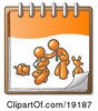 Clipart Illustration Of An Orange Family Showing A Man Kneeling Beside His Wife And Newborn Baby With Their Dog And Cat On A Notebook Symbolizing Family Planning by Leo Blanchette