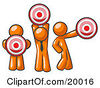 Clipart Illustration Of A Group Of Three Orange Men Holding Red Targets In Different Positions by Leo Blanchette