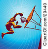 Clipart Illustration Of A Basketball Player Jumping High To Dunk The Ball In The Hoop During Practice by Tonis Pan