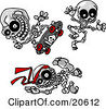 Clipart Illustration Of Three Skeletons Skateboarding Jumping And Doing Karate by Tonis Pan