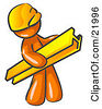 Clipart Picture Illustration Of An Orange Man Construction Worker Wearing A Hardhat And Carrying A Beam At A Work Site by Leo Blanchette