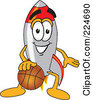 Royalty Free RF Clipart Illustration Of A Rocket Mascot Cartoon Character Playing Basketball by Toons4Biz