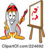 Royalty Free RF Clipart Illustration Of A Rocket Mascot Cartoon Character Painting A Canvas by Toons4Biz