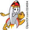 Royalty Free RF Clipart Illustration Of A Rocket Mascot Cartoon Character Playing Football by Toons4Biz