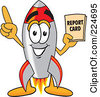 Royalty Free RF Clipart Illustration Of A Rocket Mascot Cartoon Character Holding A Report Card by Toons4Biz