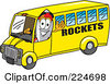 Royalty Free RF Clipart Illustration Of A Rocket Mascot Cartoon Character Driving A Rockets School Bus by Toons4Biz