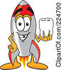 Royalty Free RF Clipart Illustration Of A Rocket Mascot Cartoon Character Holding A Tooth by Toons4Biz