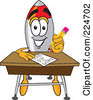 Royalty Free RF Clipart Illustration Of A Rocket Mascot Cartoon Character Taking A Quiz by Toons4Biz