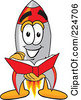 Royalty Free RF Clipart Illustration Of A Rocket Mascot Cartoon Character Reading A Book by Toons4Biz