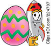 Royalty Free RF Clipart Illustration Of A Rocket Mascot Cartoon Character With An Easter Egg by Toons4Biz