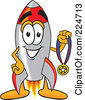 Royalty Free RF Clipart Illustration Of A Rocket Mascot Cartoon Character Holding A Sports Medal by Toons4Biz