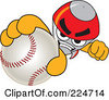 Royalty Free RF Clipart Illustration Of A Rocket Mascot Cartoon Character Grabbing A Baseball by Toons4Biz