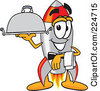 Royalty Free RF Clipart Illustration Of A Rocket Mascot Cartoon Character Serving A Platter by Toons4Biz