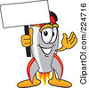 Royalty Free RF Clipart Illustration Of A Rocket Mascot Cartoon Character With A Blank Sign On A Pole by Toons4Biz