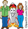 Royalty Free RF Clipart Illustration Of A Rocket Mascot Cartoon Character With Adults by Toons4Biz