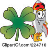 Royalty Free RF Clipart Illustration Of A Rocket Mascot Cartoon Character With A Clover by Toons4Biz