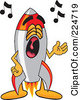 Royalty Free RF Clipart Illustration Of A Rocket Mascot Cartoon Character Singing by Toons4Biz