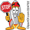 Royalty Free RF Clipart Illustration Of A Rocket Mascot Cartoon Character Holding A Stop Sign by Toons4Biz
