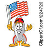 Royalty Free RF Clipart Illustration Of A Rocket Mascot Cartoon Character With An American Flag by Toons4Biz