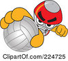 Royalty Free RF Clipart Illustration Of A Rocket Mascot Cartoon Character Grabbing A Volleyball by Toons4Biz