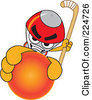 Royalty Free RF Clipart Illustration Of A Rocket Mascot Cartoon Character Grabbing A Hockey Ball by Toons4Biz
