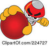 Royalty Free RF Clipart Illustration Of A Rocket Mascot Cartoon Character Grabbing A Red Ball by Toons4Biz