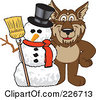 Royalty Free RF Clipart Illustration Of A Wolf School Mascot With A Snowman by Toons4Biz