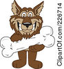 Royalty Free RF Clipart Illustration Of A Wolf School Mascot Holding A Bone by Toons4Biz