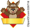 Royalty Free RF Clipart Illustration Of A Wolf School Mascot Over A Red Diamond And Blank Gold Banner by Toons4Biz