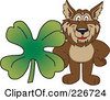 Royalty Free RF Clipart Illustration Of A Wolf School Mascot With A Four Leaf Clover by Toons4Biz