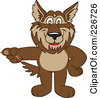 Royalty Free RF Clipart Illustration Of A Wolf School Mascot Pointing Left by Toons4Biz