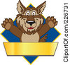 Royalty Free RF Clipart Illustration Of A Wolf School Mascot Over A Blue Diamond And Blank Gold Banner by Toons4Biz