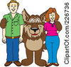 Royalty Free RF Clipart Illustration Of A Wolf School Mascot With Adults by Toons4Biz