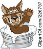 Royalty Free RF Clipart Illustration Of A Wolf School Mascot Bathing With Soap In A Metal Tub by Toons4Biz