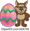 Royalty Free RF Clipart Illustration Of A Wolf School Mascot With An Easter Egg by Toons4Biz