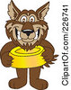 Royalty Free RF Clipart Illustration Of A Wolf School Mascot Holding A Food Bowl by Toons4Biz