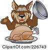 Royalty Free RF Clipart Illustration Of A Wolf School Mascot Serving A Thanksgiving Turkey by Toons4Biz
