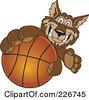 Royalty Free RF Clipart Illustration Of A Wolf School Mascot Grabbing A Basketball by Toons4Biz