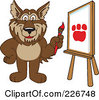 Royalty Free RF Clipart Illustration Of A Wolf School Mascot Painting A Paw Print On Canvas by Toons4Biz