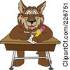 Royalty Free RF Clipart Illustration Of A Wolf School Mascot Writing On A Desk by Toons4Biz