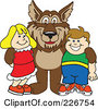 Royalty Free RF Clipart Illustration Of A Wolf School Mascot With Students by Toons4Biz