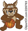 Royalty Free RF Clipart Illustration Of A Wolf School Mascot Playing Basketball by Toons4Biz