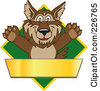 Royalty Free RF Clipart Illustration Of A Wolf School Mascot Over A Green Diamond And Blank Gold Banner by Toons4Biz