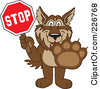 Royalty Free RF Clipart Illustration Of A Wolf School Mascot Holding A Stop Sign by Toons4Biz