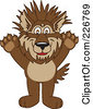 Royalty Free RF Clipart Illustration Of A Wolf School Mascot With Spiked Hair by Toons4Biz
