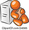 Clipart Illustration Of An Orange Man Sitting By A Filing Cabinet And Holding A Folder by Leo Blanchette