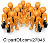 Clipart Illustration Of A Group Of Orange Business People Carrying Briefcases And Standing With Their Hands Piled Symbolizing Teamwork Cooperation Support Unity And Goals by 3poD