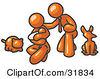 Clipart Illustration Of An Orange Family Father Mother And Newborn Baby With Their Dog And Cat by Leo Blanchette