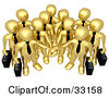Clipart Illustration Of A Group Of Gold Business People Carrying Briefcases And Standing With Their Hands Piled Symbolizing Teamwork Cooperation Support Unity And Goals by 3poD