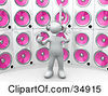 Clipart Illustration Of A White Person With A Music Note Head Giving The Thumbs Up Listening To Tunes In Front Of A Wall Of Pink Speakers by 3poD
